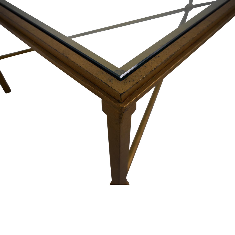 Rectangular Metal and Glass Coffee Table nj