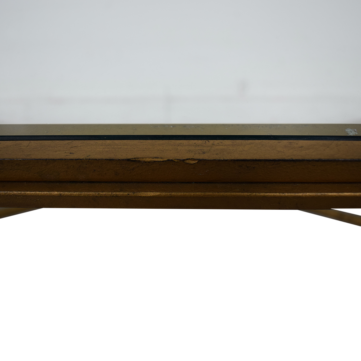 Rectangular Metal and Glass Coffee Table gold/glass
