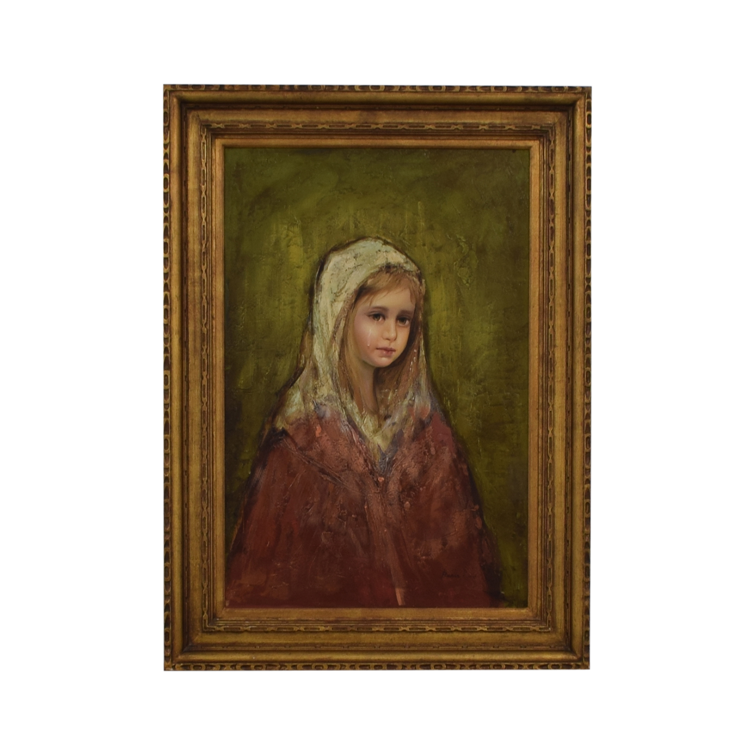 Young Girl Crying Signed Oil Painting sale