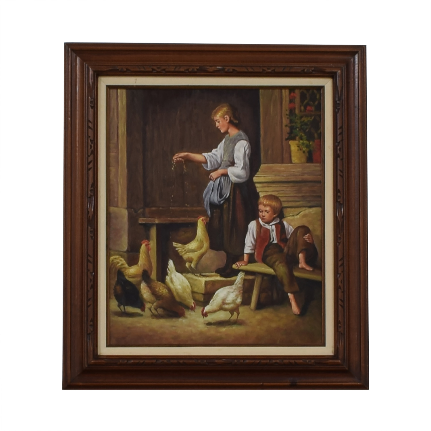 Hancock Feeding the Chickens Oil Painting used
