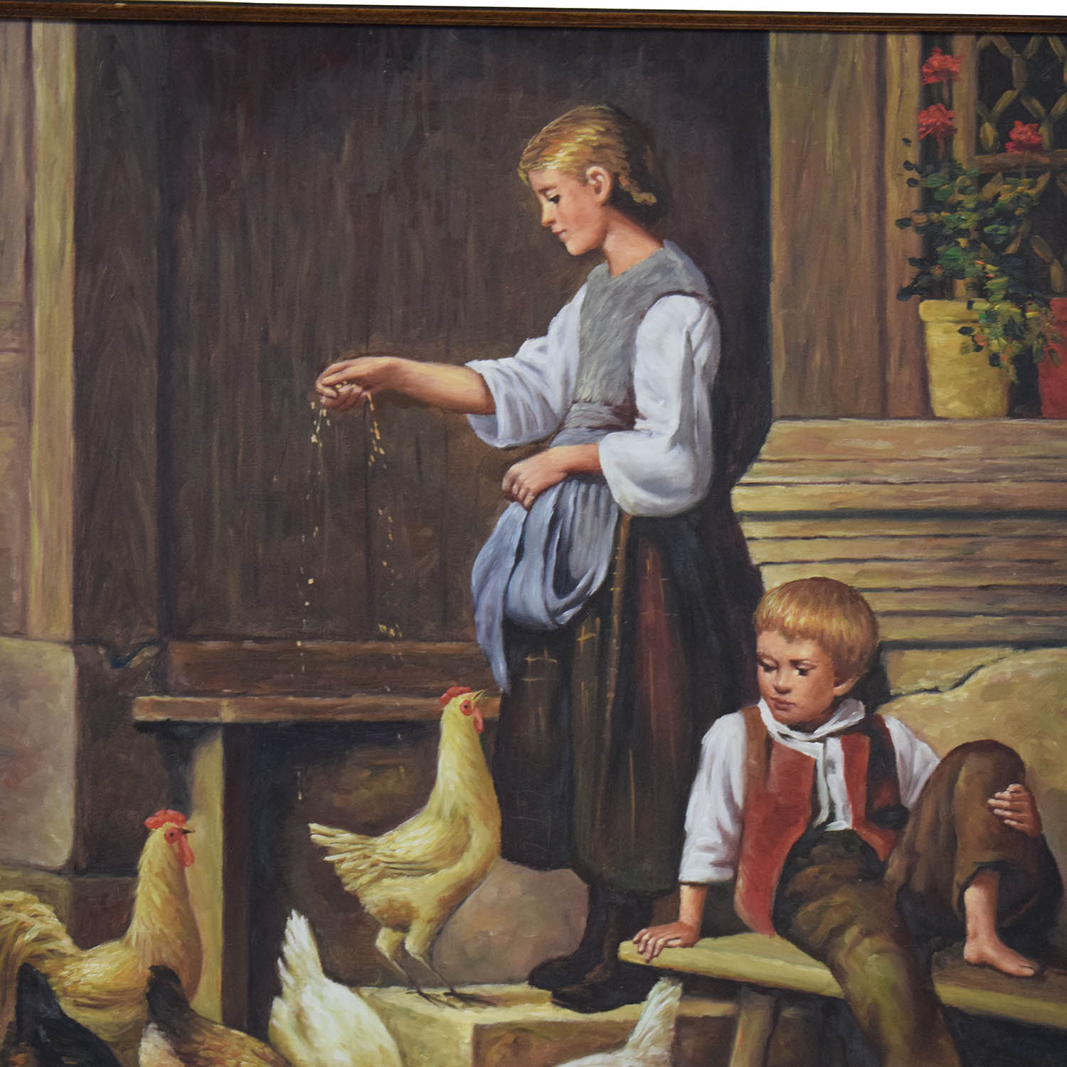 Hancock Feeding the Chickens Oil Painting for sale