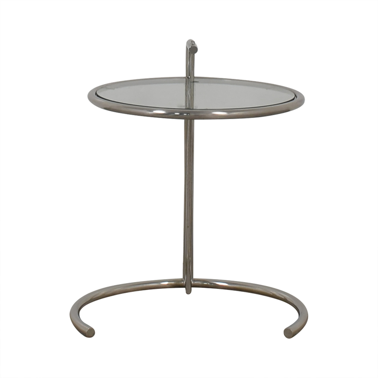 Eileen Gray Style Glass and Chrome Round End Table