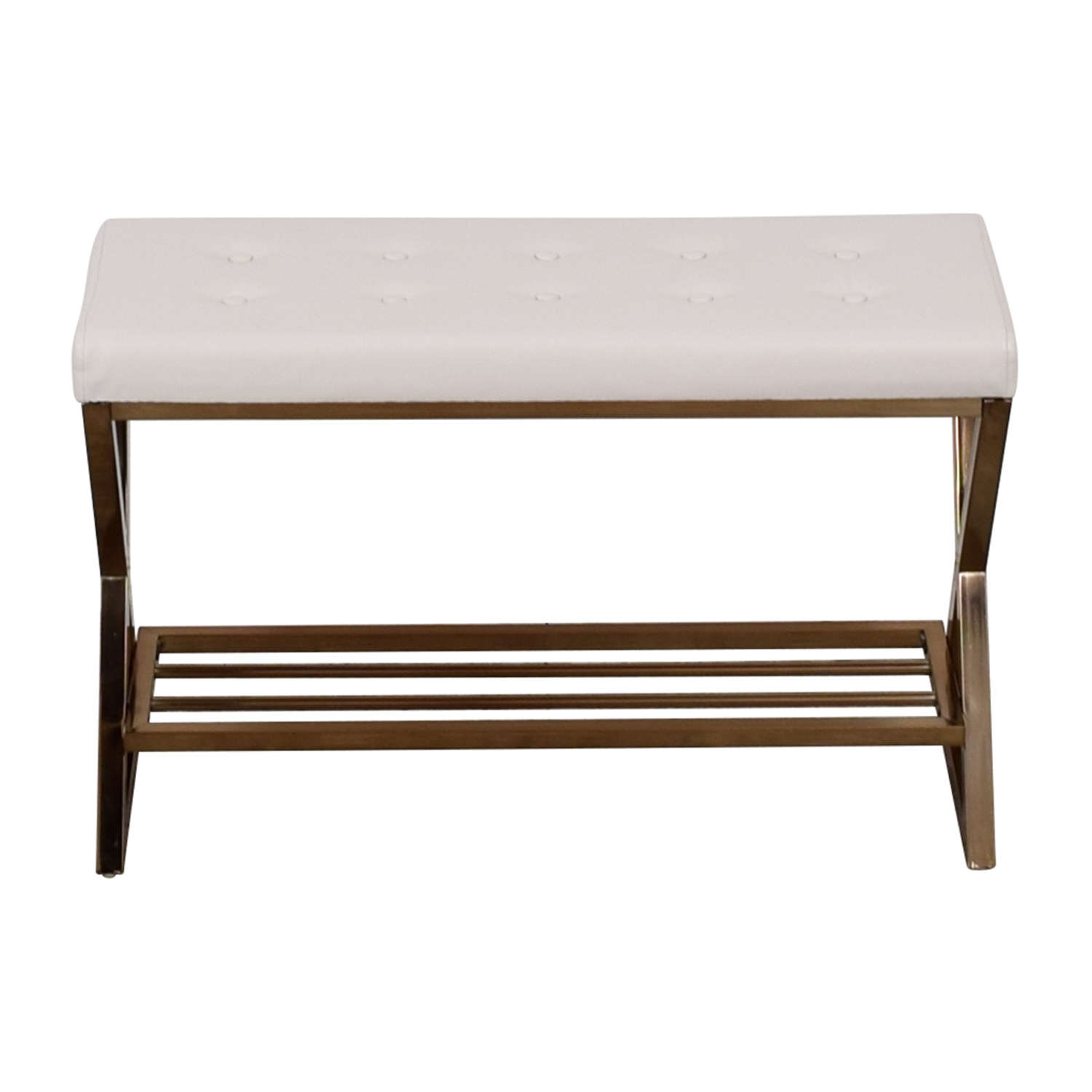 shop Furniture of America White Tufted Bench Furniture of America