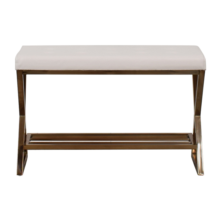 Furniture of America Furniture of America White Tufted Bench for sale