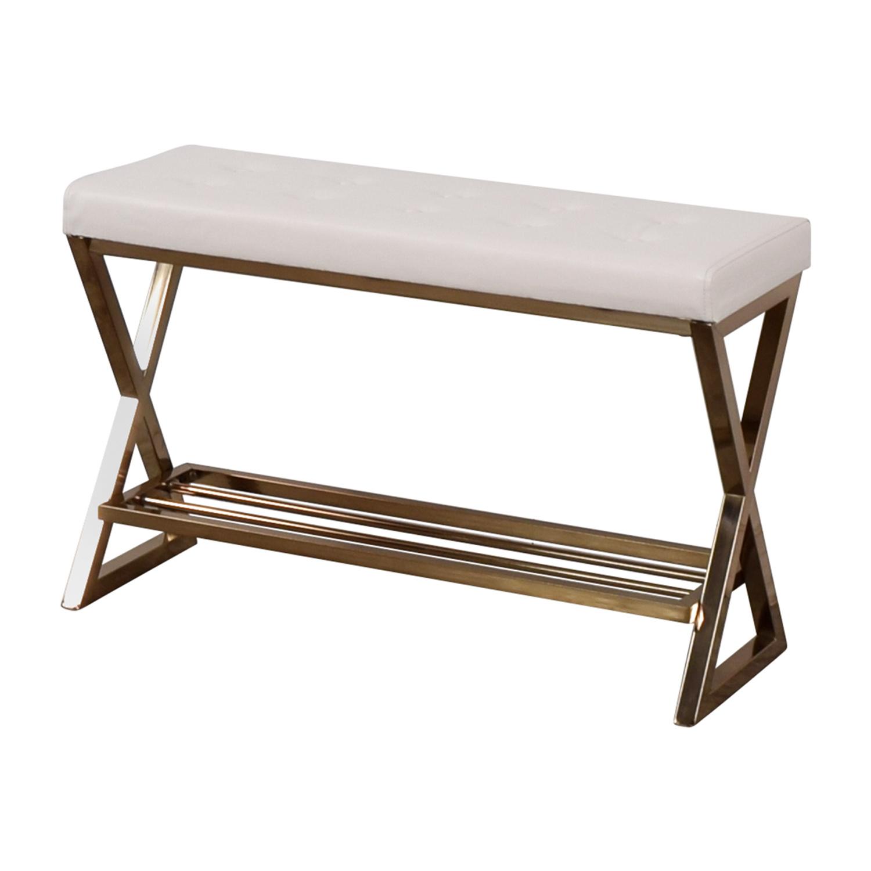 Furniture of America Furniture of America White Tufted Bench nj