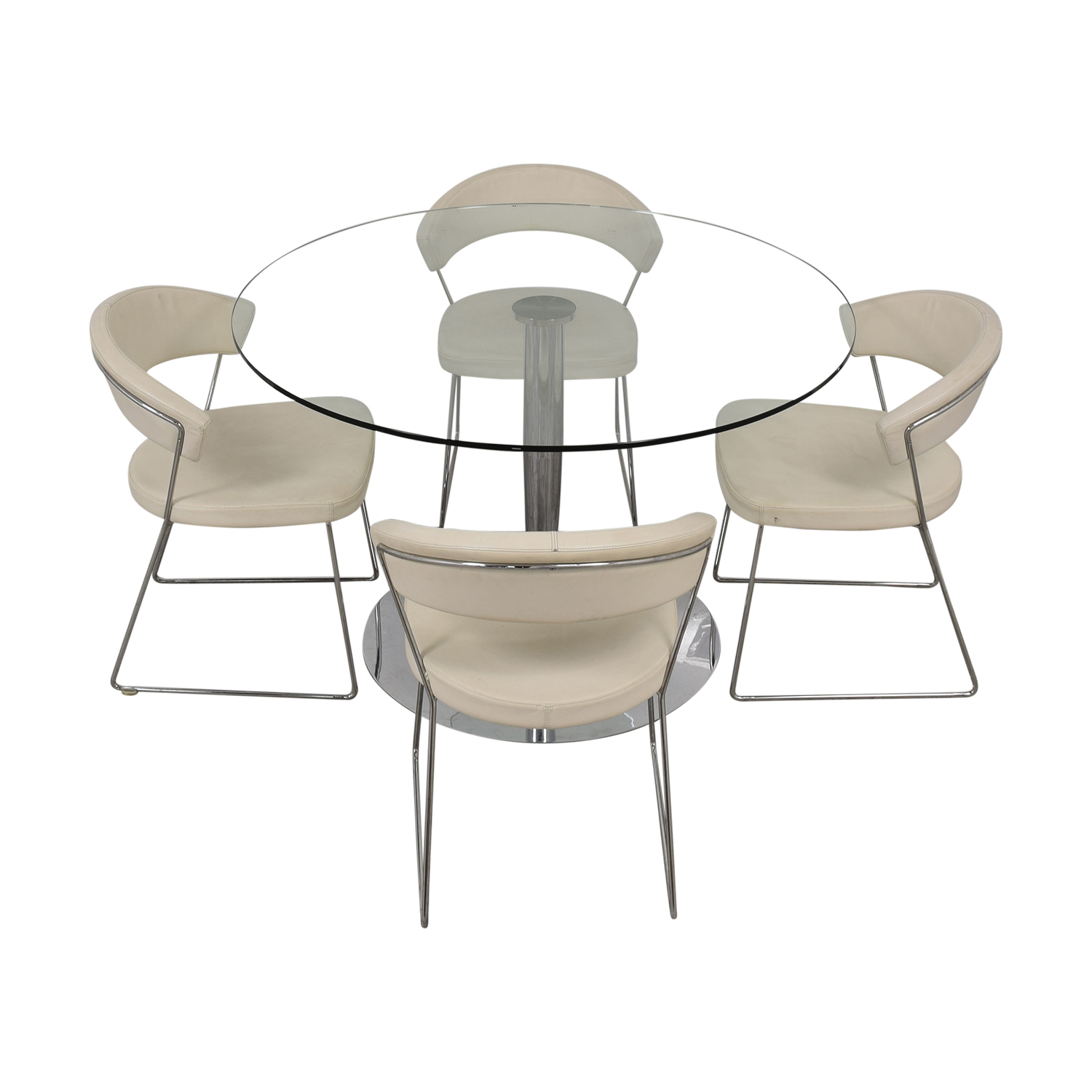 Calligaris Calligaris Planet Glass Dining Table with Calligaris New York  Chairs