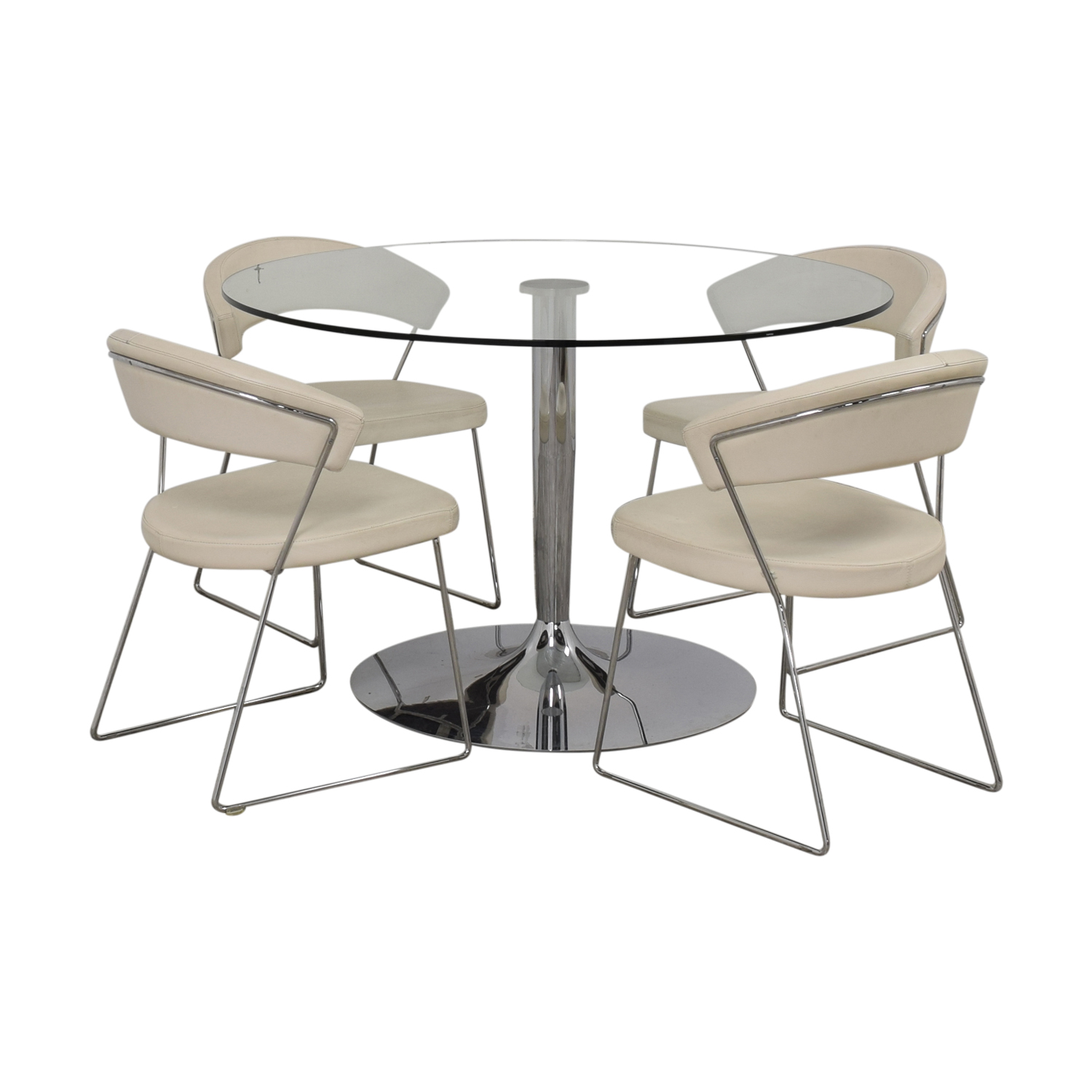 Calligaris Calligaris Planet Glass Dining Table with Calligaris New York  Chairs second hand