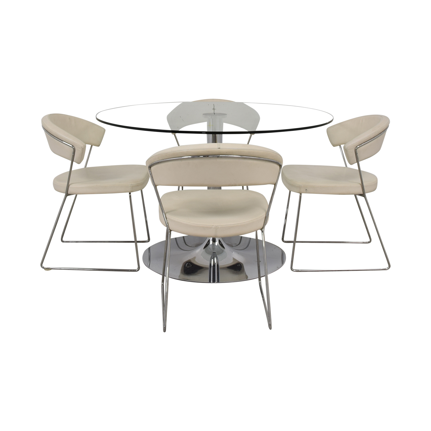 Calligaris Planet Glass Dining Table with Calligaris New York  Chairs Calligaris