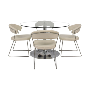 Calligaris Calligaris Planet Glass Dining Table with Calligaris New York  Chairs dimensions