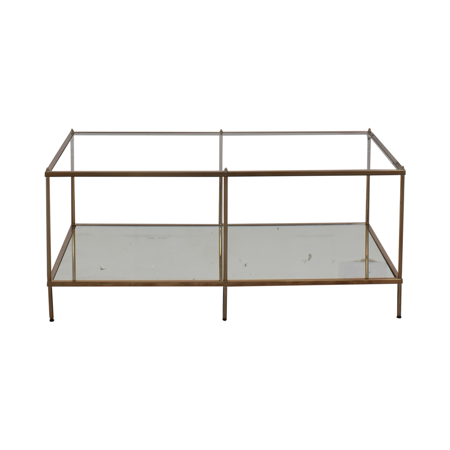shop Glass Mirrored Copper Trim Coffee Table  Tables