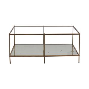 shop Glass Mirrored Copper Trim Coffee Table