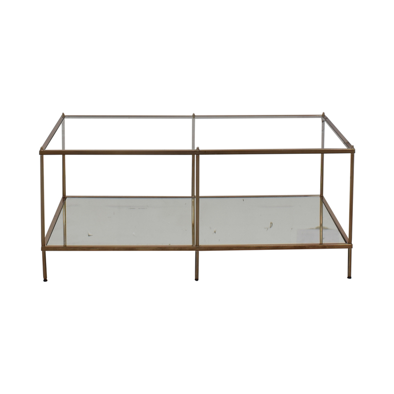 Glass Mirrored Copper Trim Coffee Table / Tables