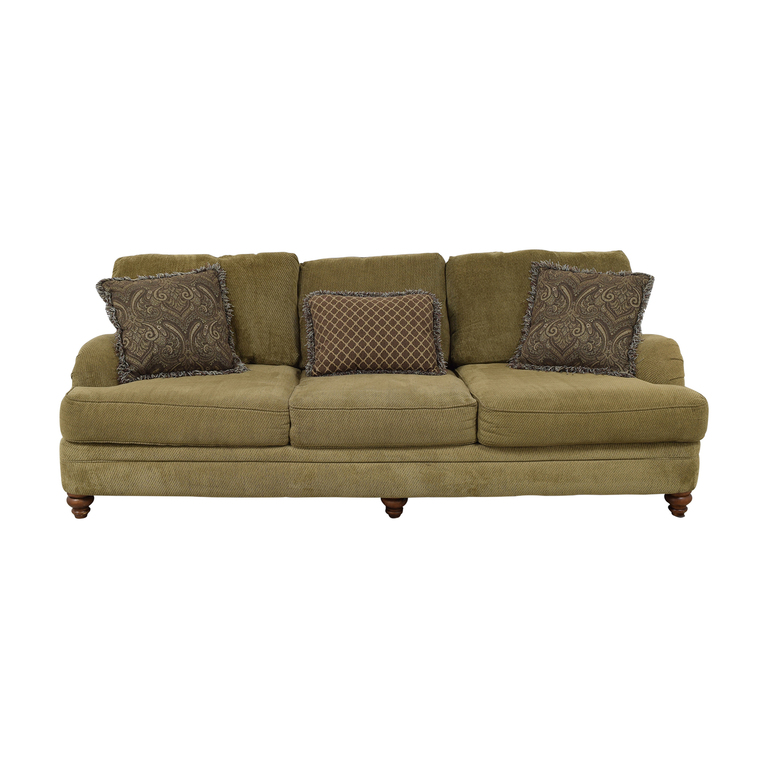 shop Raymour & Flanigan Brown Three-Cushion Sofa Raymour & Flanigan