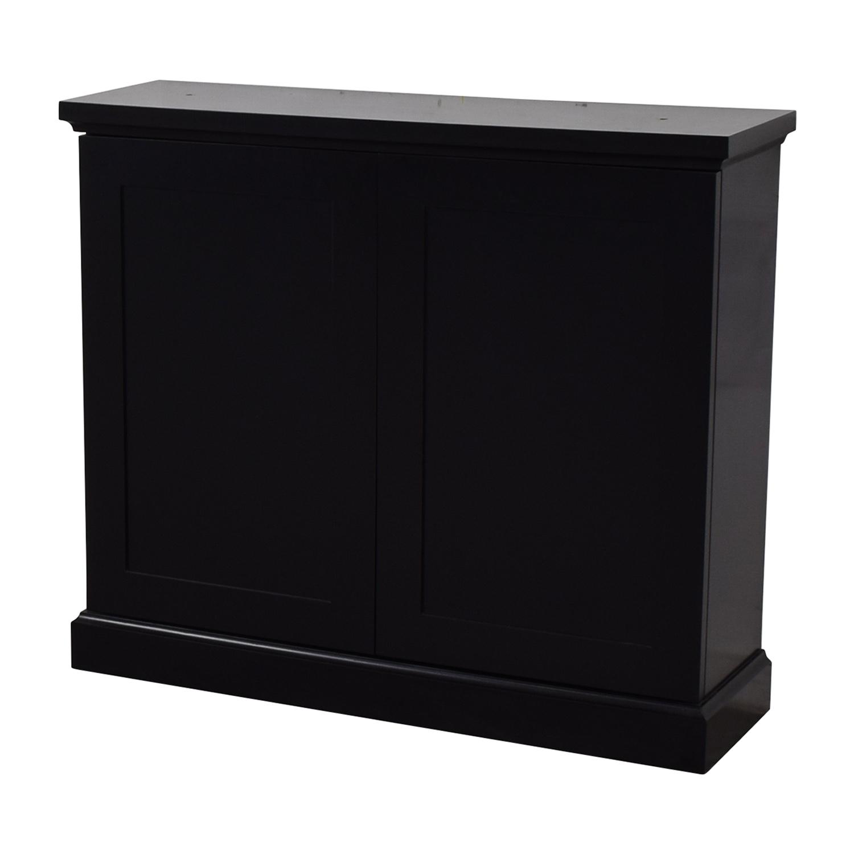 Black Ebonized Wood Two-Door Cabinet / Storage