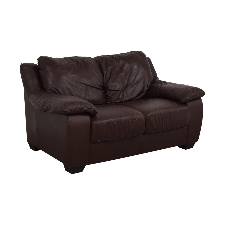 Natuzzi Brown Two-Cushion Loveseat / Sofas
