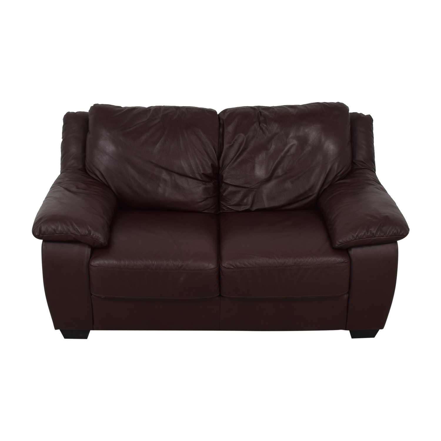 Natuzzi Natuzzi Brown Two-Cushion Loveseat light brown