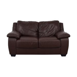 Natuzzi Natuzzi Brown Two-Cushion Loveseat Sofas