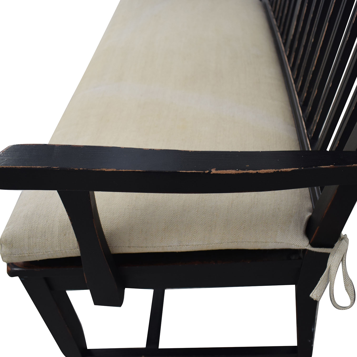 shop Crate & Barrel Wood Bench with Cushion Crate & Barrel Benches