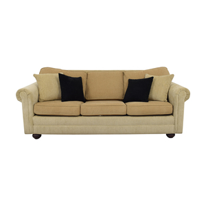 shop Restoration Hardware Restoration Hardware Beige Three-Cushion Couch with Queen Convertible online