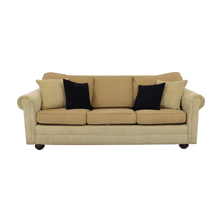 Restoration Hardware Beige Three-Cushion Couch with Queen Convertible sale