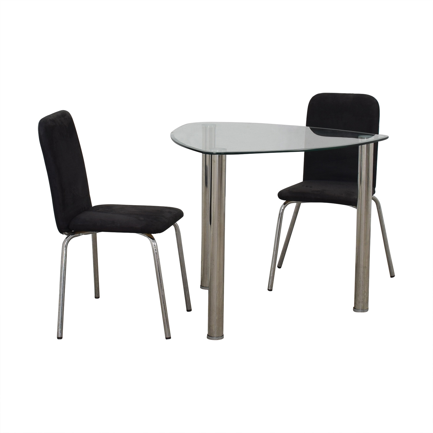 buy IKEA Glass and Chrome Suede Dining Set IKEA Dining Sets