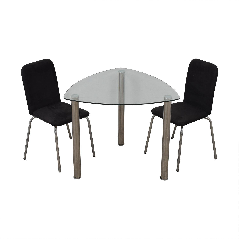 IKEA IKEA Glass and Chrome Suede Dining Set on sale