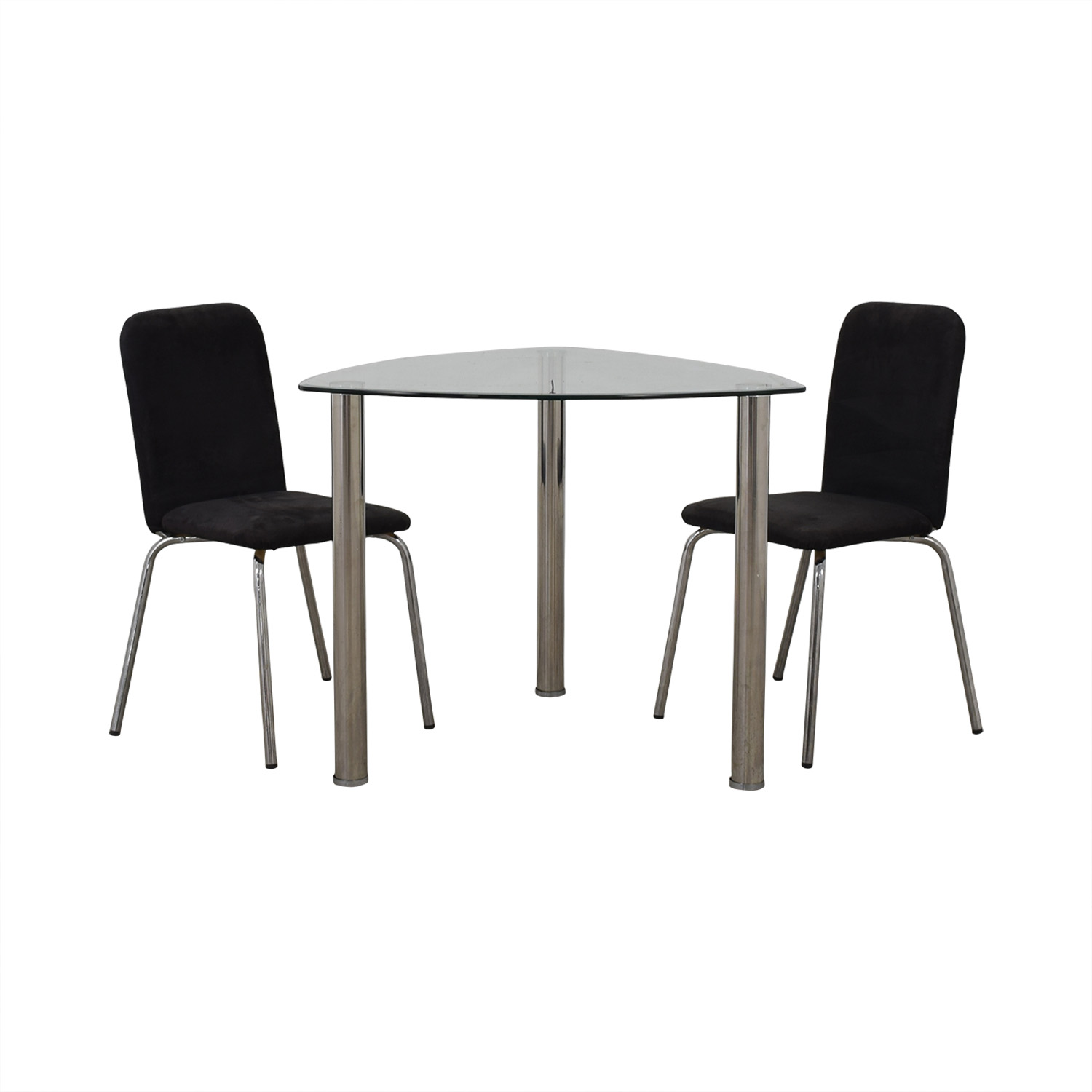 IKEA IKEA Glass and Chrome Suede Dining Set Dining Sets