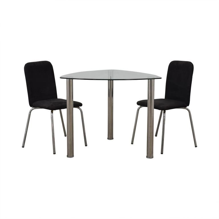 IKEA IKEA Glass and Chrome Suede Dining Set dimensions