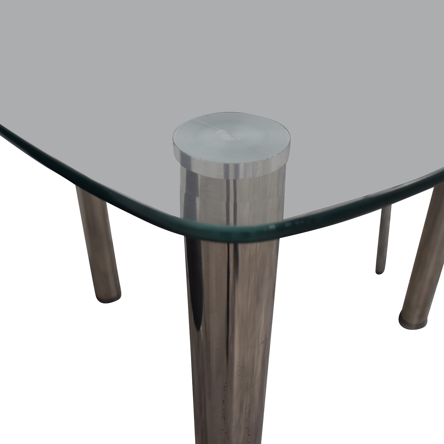 IKEA IKEA Glass and Chrome Suede Dining Set gray