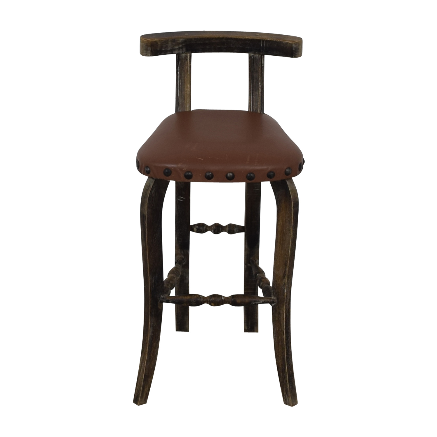 buy Nadeau Antique Brown Nailhead Asian Stool Nadeau