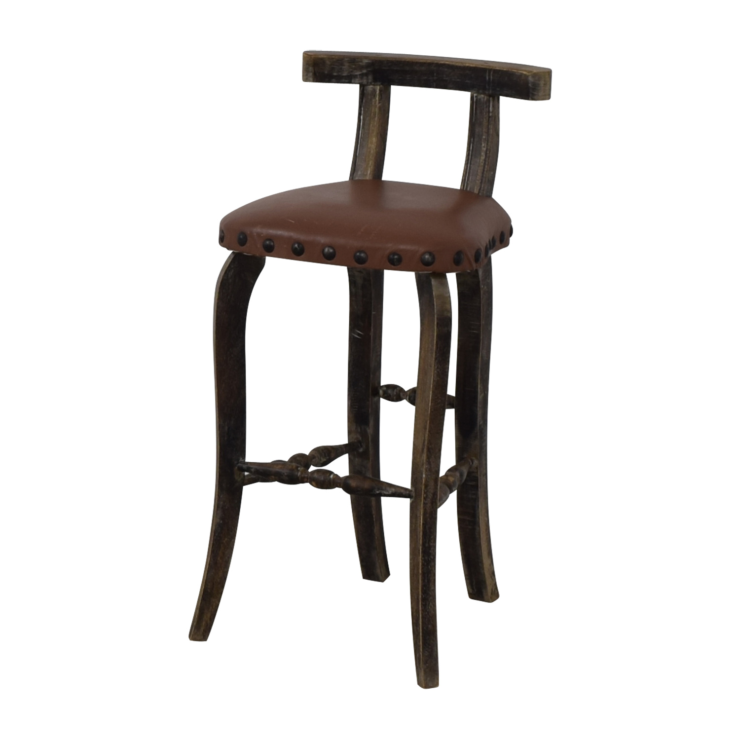 Nadeau Nadeau Antique Brown Nailhead Asian Stool Stools