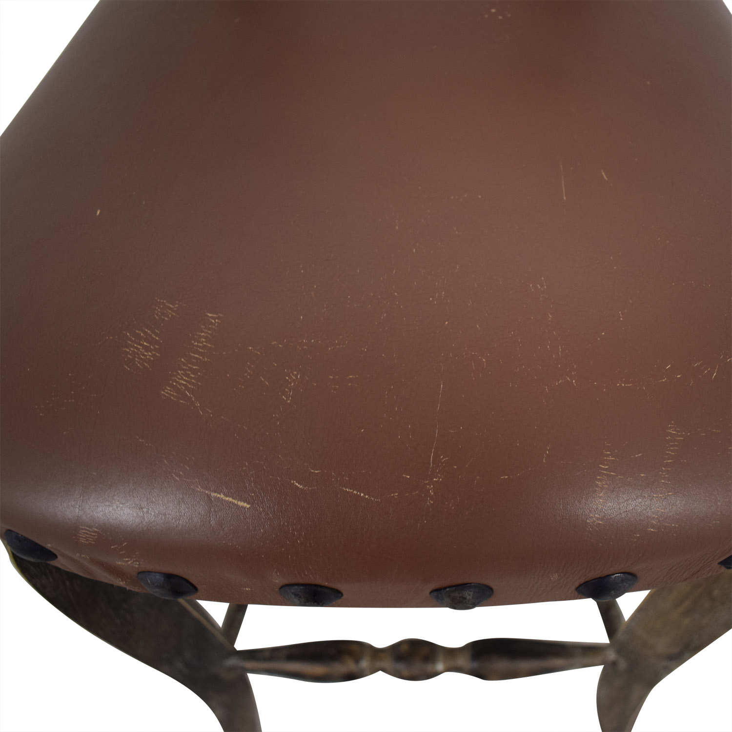 Nadeau Nadeau Antique Brown Nailhead Asian Stool
