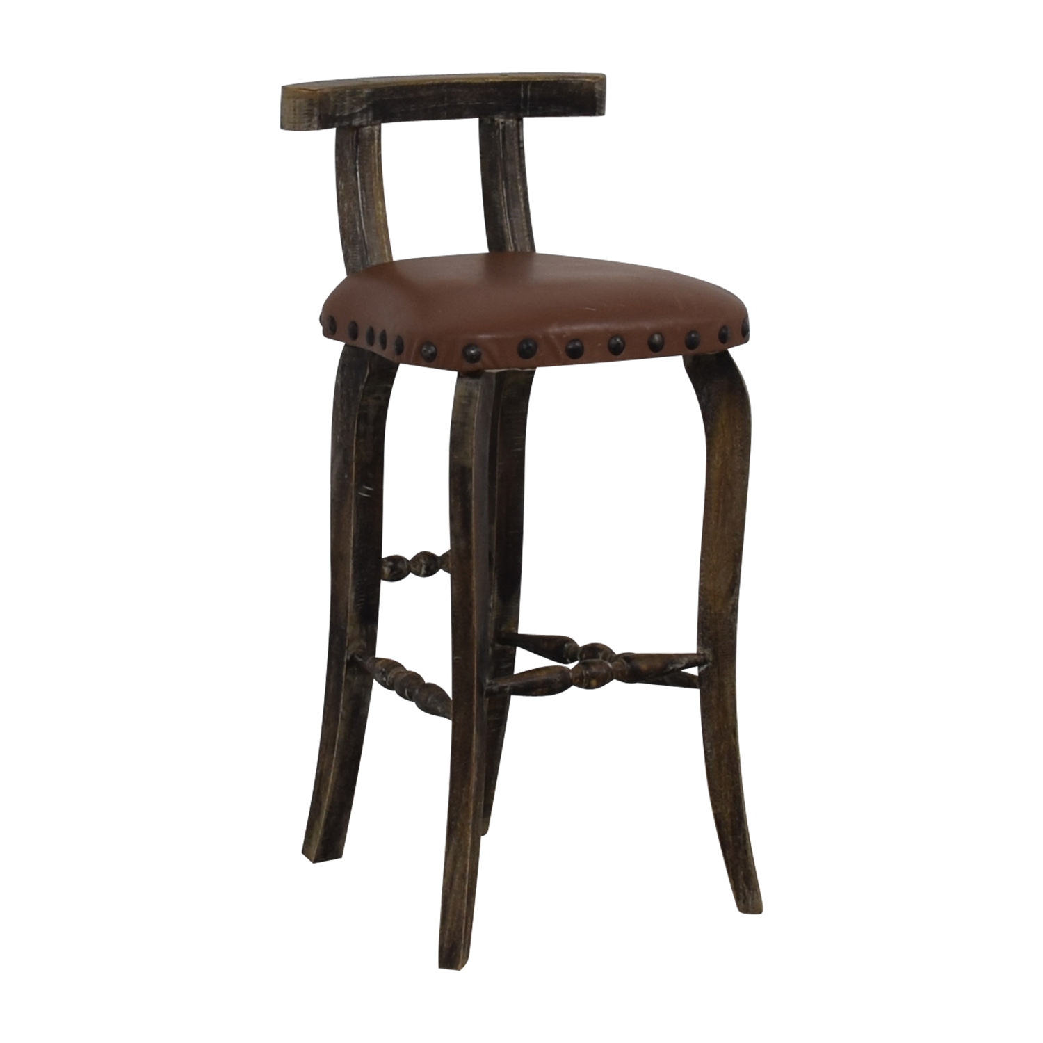 buy Nadeau Antique Brown Nailhead Asian Stool Nadeau Stools