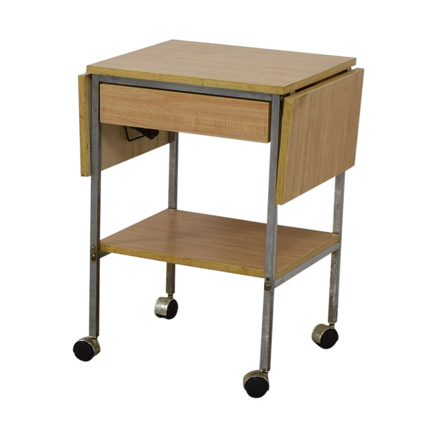 Drop Leaf One-Drawer Kitchen Cart on Casters for sale
