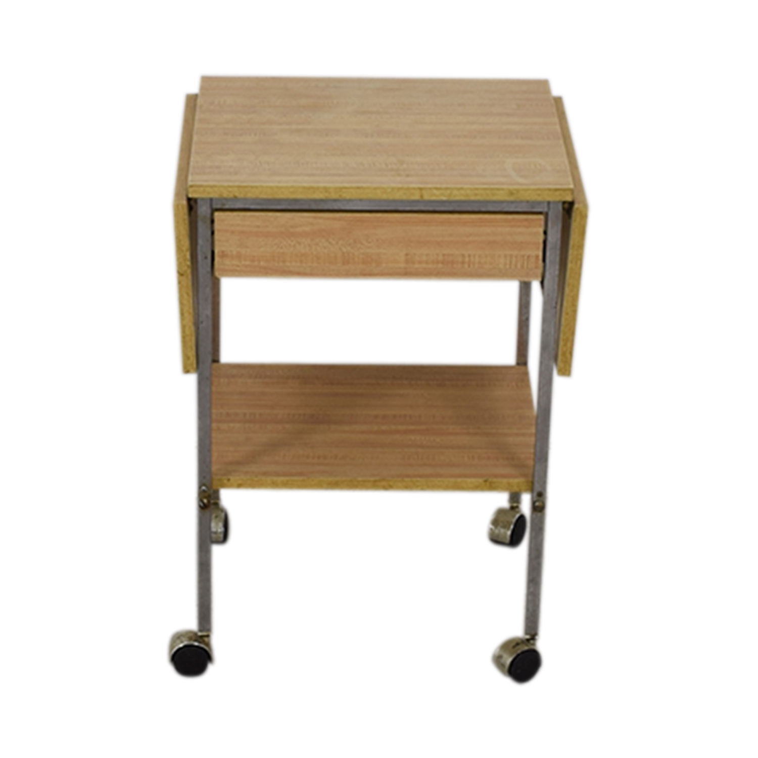 Drop Leaf One-Drawer Kitchen Cart on Casters maple