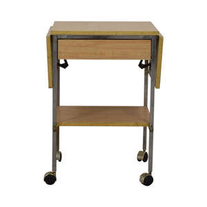 Drop Leaf One-Drawer Kitchen Cart on Casters