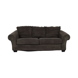 Ashley Furniture Grey Microfiber Two-Cushion Sofa Ashley Furniture
