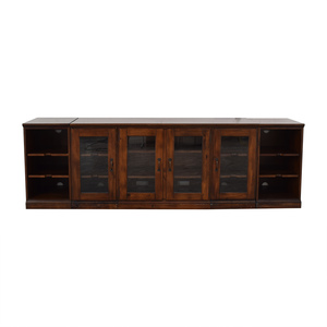 Pottery Barn Printer's Glass and Wood Media Unit or Sideboard sale