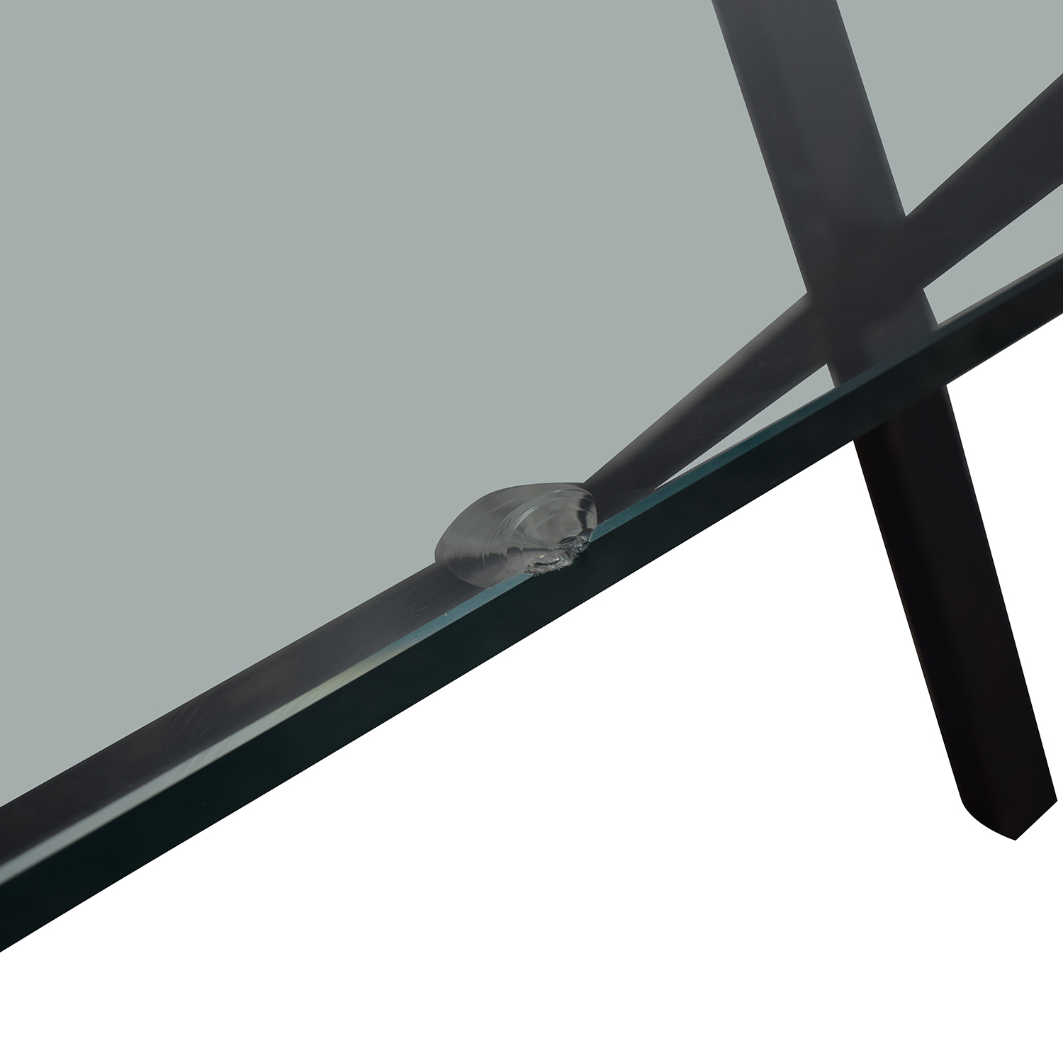 Glass and Black Wood Base Desk discount