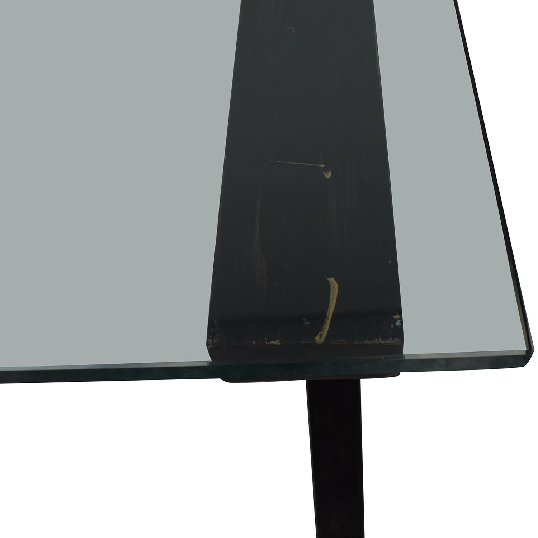 Glass and Black Wood Base Desk Home Office Desks