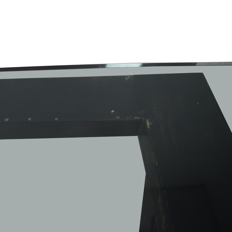 buy Glass and Black Wood Base Desk  Home Office Desks