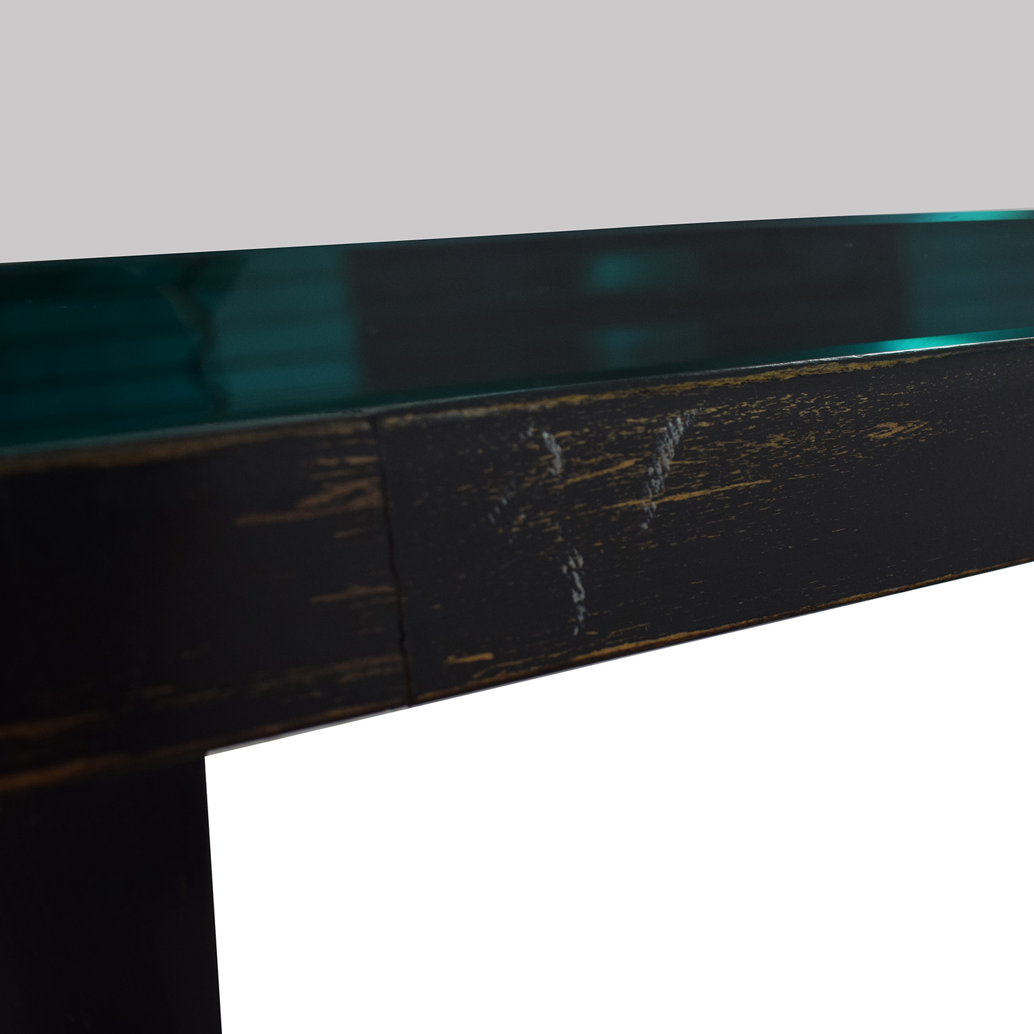 Glass and Black Wood Base Desk second hand