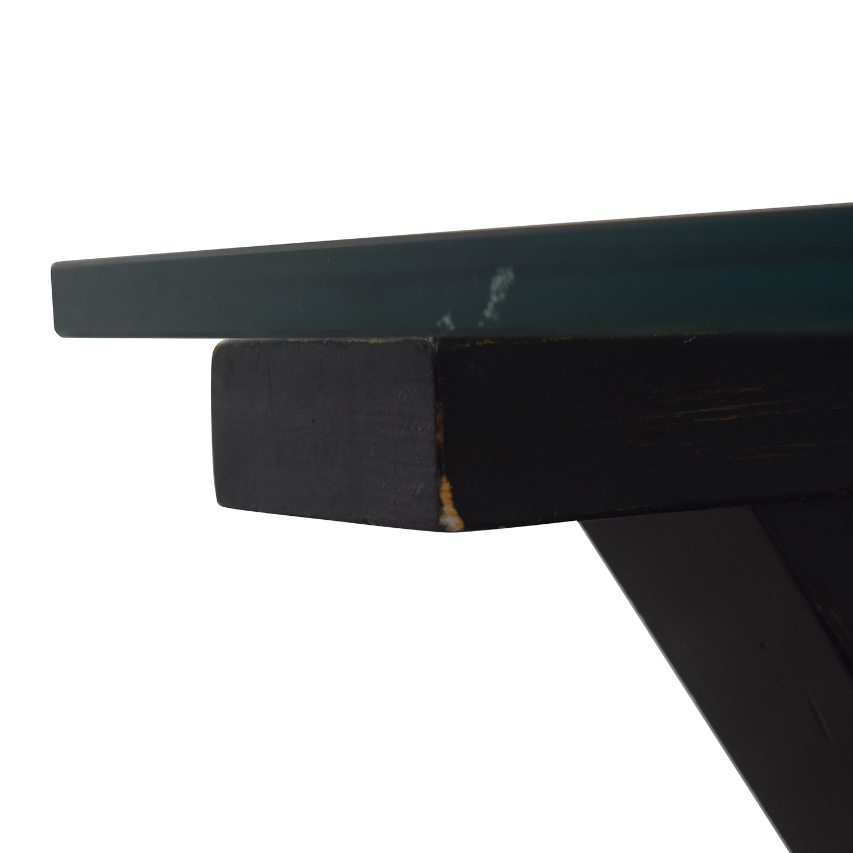 Glass and Black Wood Base Desk
