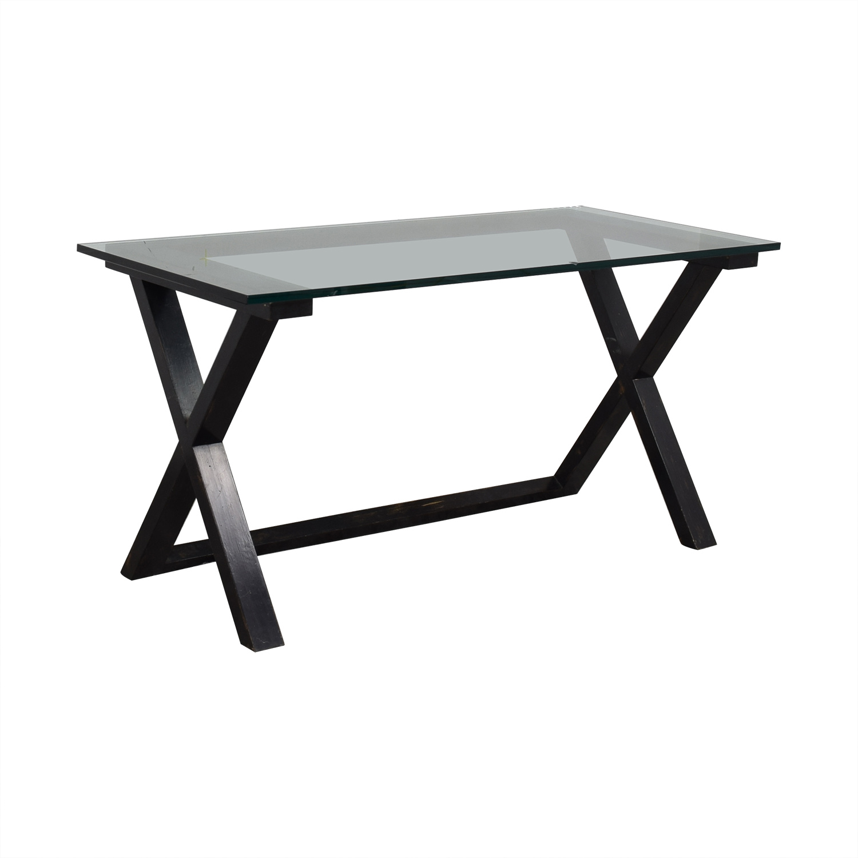 buy Glass and Black Wood Base Desk