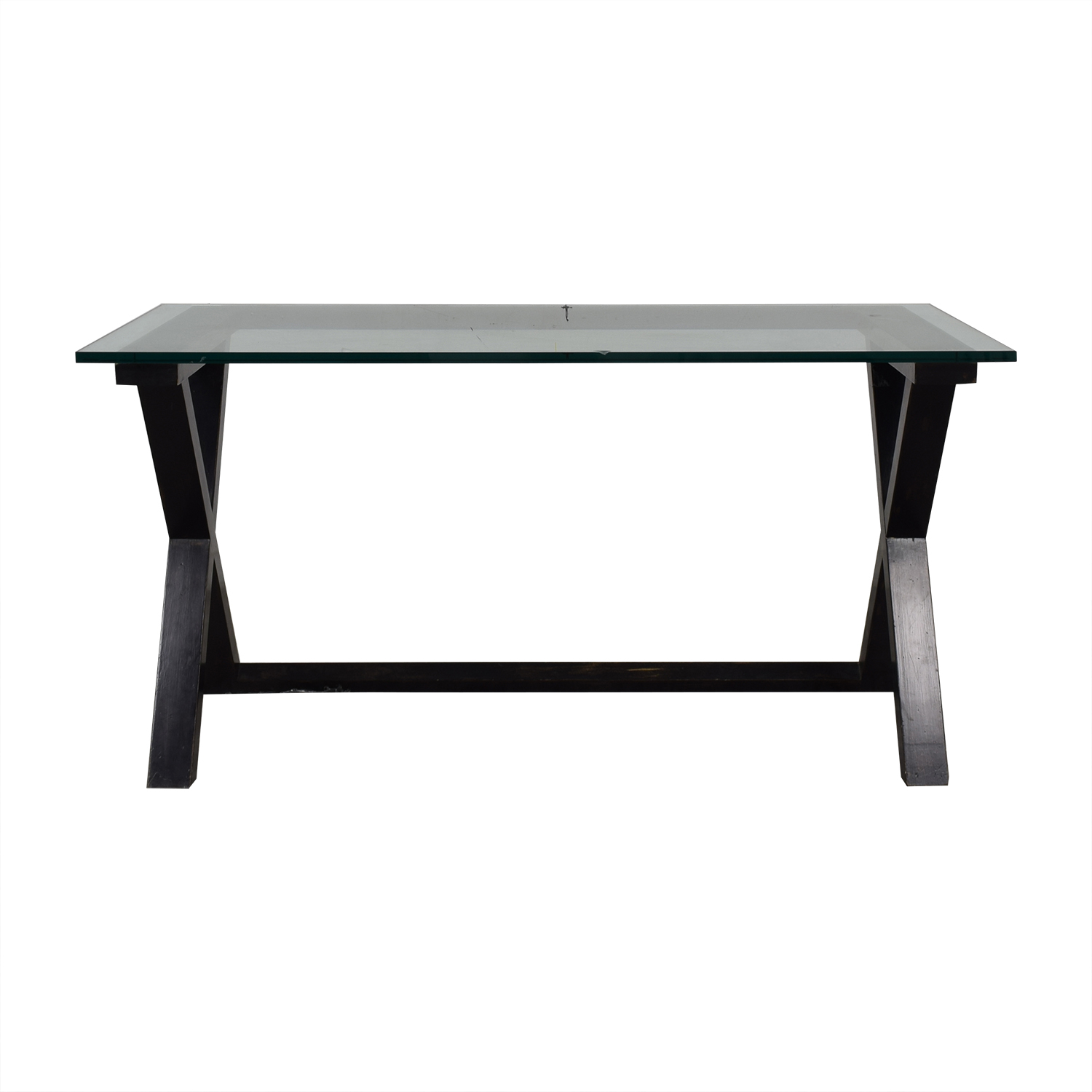 Glass and Black Wood Base Desk price