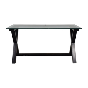 Glass and Black Wood Base Desk used