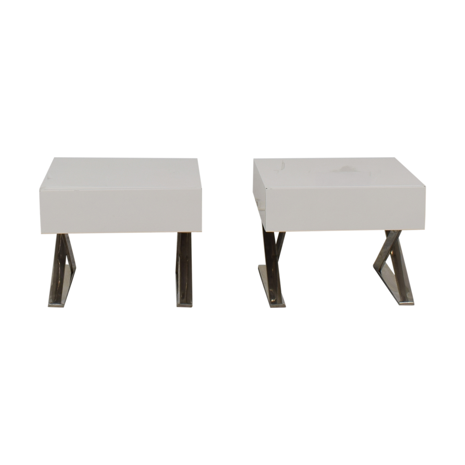 LexMod LexMod Sector White Single Drawer End Tables
