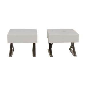 shop LexMod Sector White Single Drawer End Tables LexMod