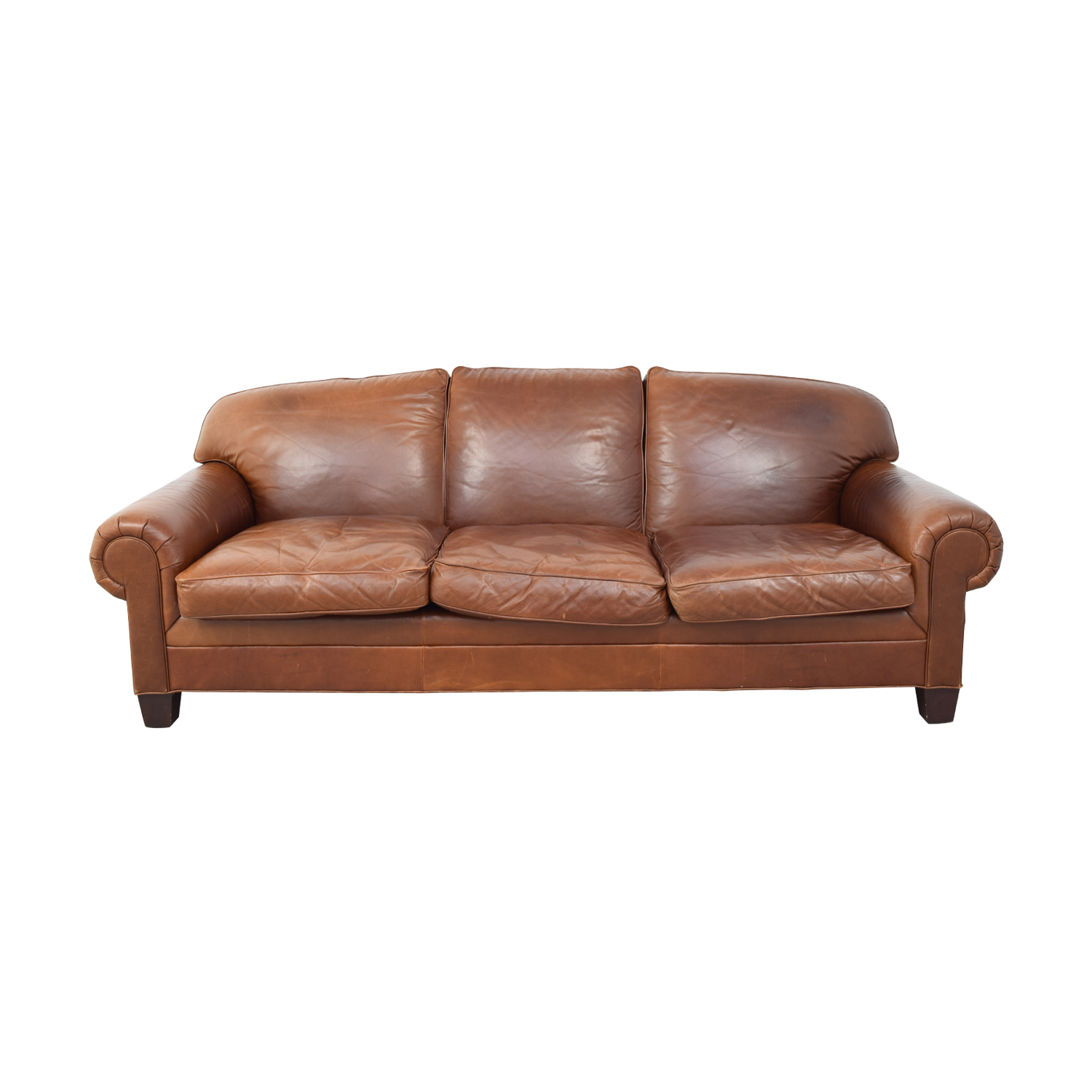 Ralph Lauren Burnt Orange Three-Cushion Couch Ralph Lauren Home