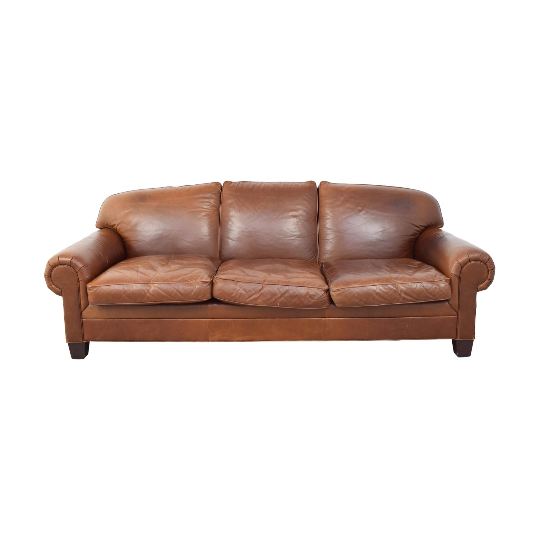 buy Ralph Lauren Burnt Orange Three-Cushion Couch Ralph Lauren Home Classic Sofas